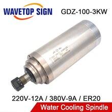 Água de Refrigeração Do Eixo 3kw 380V 9A GDZ 100 3 220V 12A Dia.100mm ER20 400Hz Do Motor Do Eixo CNC