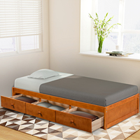 TTLIFE 77.9L Platform Storage Bed with 3 Drawers Storage Twin Size Oak Modern Bed Frame Brown Cherry Modern Bedrooms Furniture