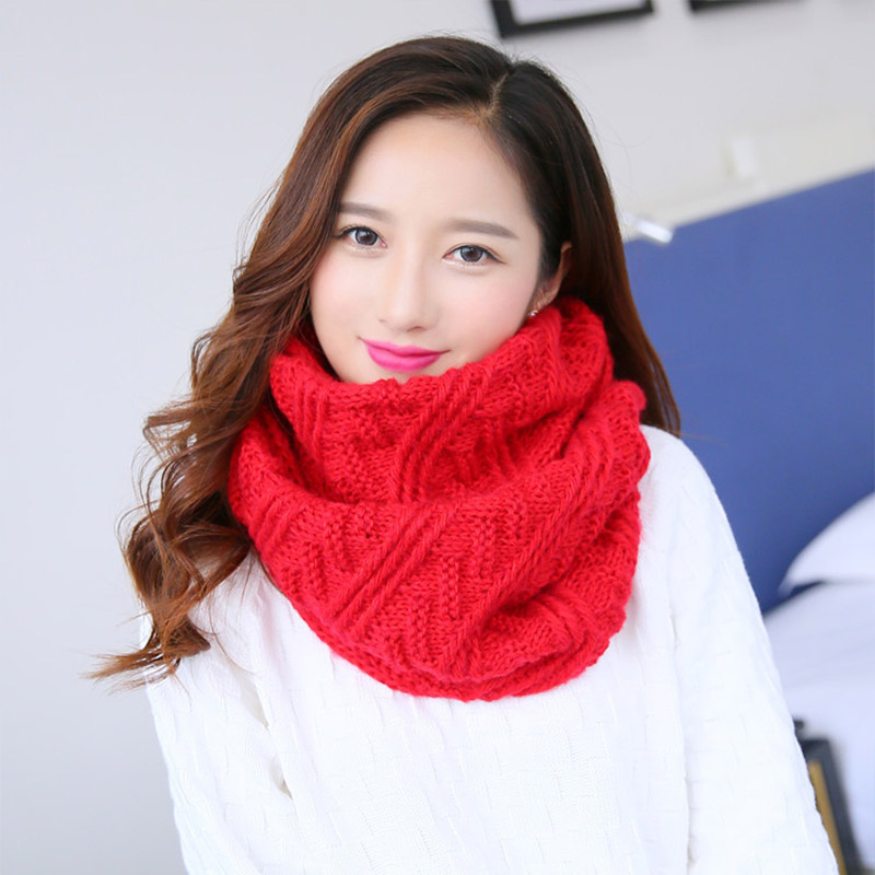 Kitted Winter Scarf for Women Ladies Long Shawl Ring Scarf Girls Elegant foulard Scarves femme For Ladies solic color in Women 39 s Scarves from Apparel Accessories