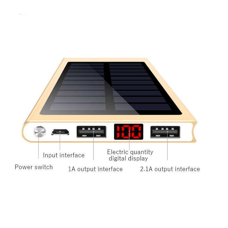 Batterie Portable solaire Batterie Externe 2 USB LED Powerbank Chargeur Solaire Portable Pour téléphone Portable pour Xiao mi mi iphone XS 8plus 20000mAH