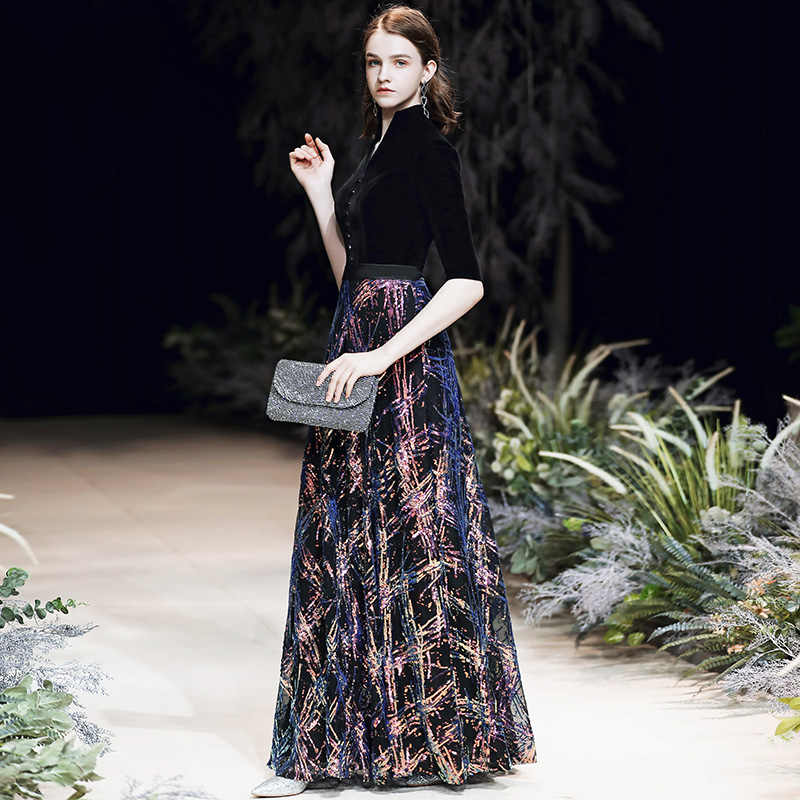 AE734 שחור ערב שמלות 2020 אלגנטית נצנצים ערב שמלות ארוך פורמליות שמלת ערב סגנונות נשים מפלגה לנשף שמלות