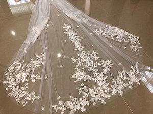 Image 5 - Impresionante velo de novia de dos capas de encaje de lujo con flores, velos de novia de 4 metros de largo con peine M2020