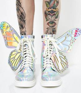 Image 3 - Лазерные серебристые, черные, розовые женские высокие кроссовки с украшением в виде крыльев бабочки, с круглым носком, на молнии, на шнуровке, женские короткие ботинки на плоской подошве