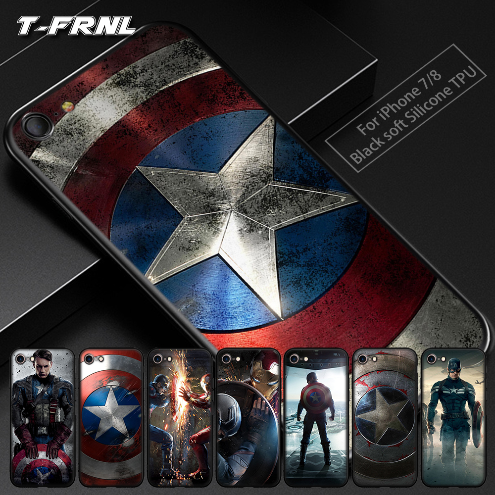 För coque iPhone 6S-fodral 5 5S SE 6 6S 7 8 Plus X-fodral Captain America-fodral för iPhone XS Max-fodral för iPhone XR-fodral