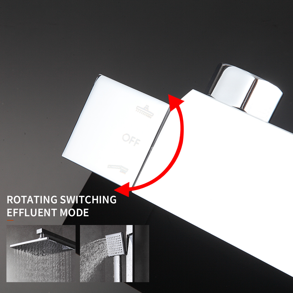 Bathroom Thermostatic Shower Set.Square Thermostatic Shower  Faucet Mixer.8 Square Shower Head,Square Hand Shower.Chrome Finish