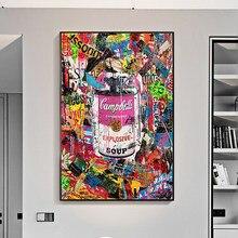 Peinture sur toile de Graffiti de soupe condensée, affiches et imprimés, images d'art de rue, Cuadros pour décoration de salon sans cadre