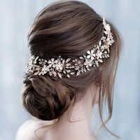 Braut Blätter Reben Haar Band Mädchen Blume Kopfschmuck Mode Handgemachte Hochzeit Kristall Haar Zubehör Gold Silber Blatt Stirnband
