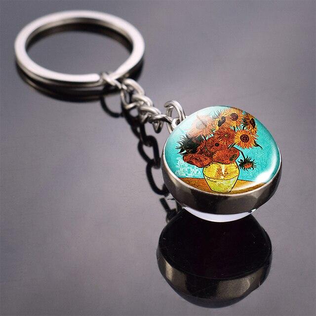 Van Gogh célèbre peinture à lhuile bibelot tournesols nuit étoilée Double côté porte-clés boule de verre porte-clés pendentif porte-clés