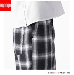 Мужские брюки в клетку для бега, мужские черные хлопковые удобные брюки, Летние повседневные уличные свободные штаны, японские трендовые спортивные штаны
