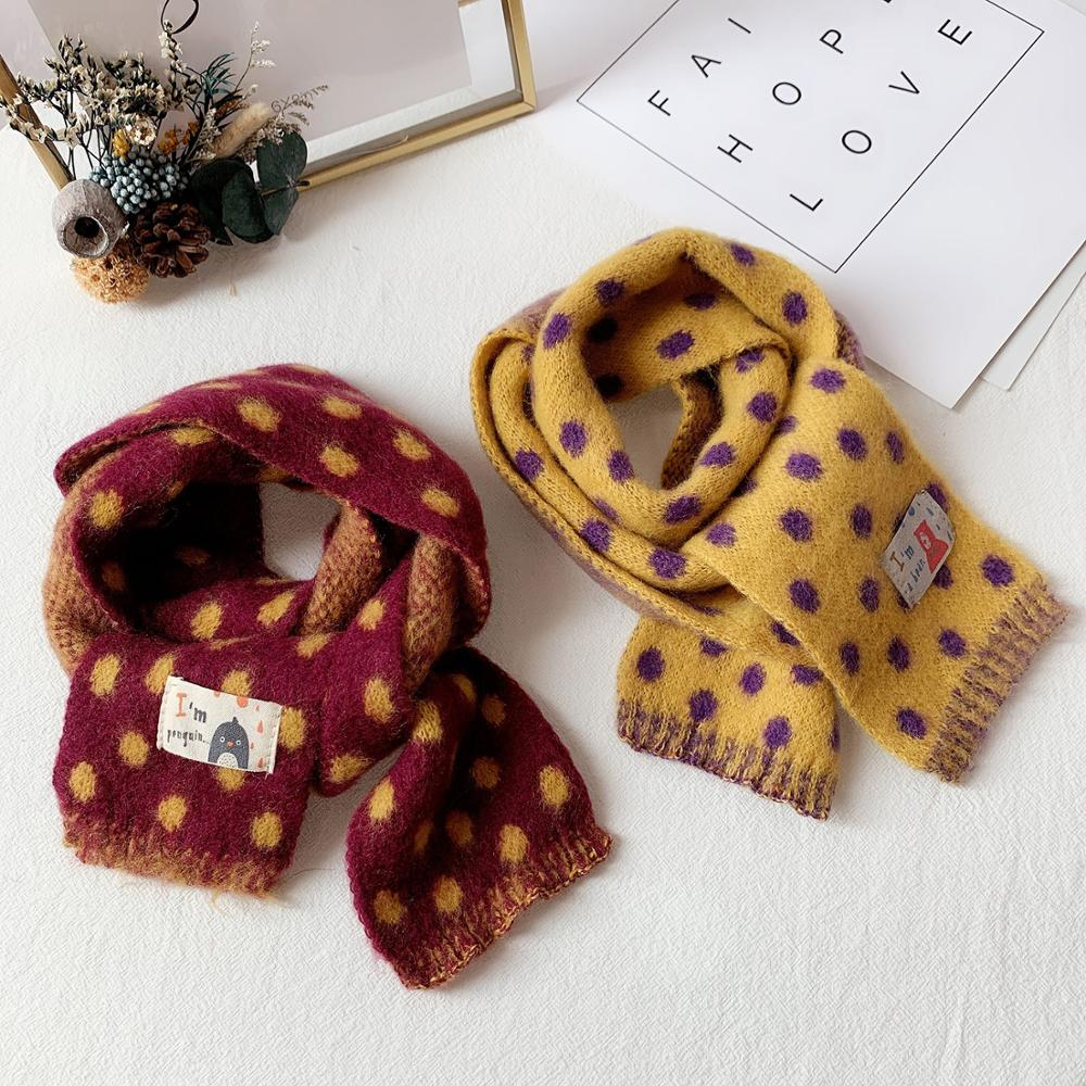 Baby Scarf Winter Kids Woolen Scarf Polka Dot Girls Boy Warmer Scarves Knitted Children Toddler Candy Color Neckerchief Lovely