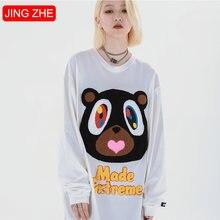 Jing zhe harajuku милые футболки для женщин с длинными рукавами