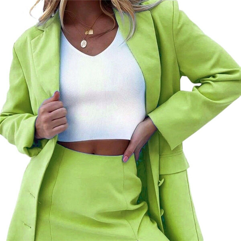 2020 Women's Blazer Solid Long Sleeve Blazers Solid Button Coat Slim Office Lady Jacket Female Tops Suit Blazer Femme Jackets