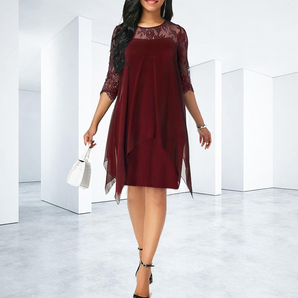 5XL Plus Size Fashion Women <font><b>Dress</b></font> 2019 Casual Women <font><b>Sexy</b></font> Lace Hollow Out Loose <font><b>Club</b></font> Party Elegant <font><b>Dresses</b></font> Woman vestidos <font><b>4XL</b></font> image