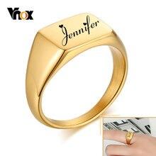 Vnox anillos de Signet personalizados para mujer, joyas de Metal antialérgicas de acero inoxidable, regalo de fiesta de cumpleaños personalizado para ella