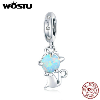 WOSTU Jewelry Fit Original  Charms Bracelet Authentic Sterling 925 Silver Cat Pendant Hanging Beads Berloque DIY Gift wostu authentic 100% 925 sterling silver cute owl love story charms fit original wst bracelets diy jewelry gift cqc425