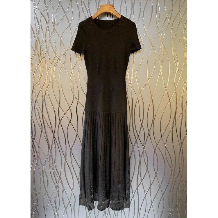 Kadın Giyim'ten Elbiseler'de 2019 Sonbahar/kış Üst Vücut Vuruntu Ince Kısa Kollu Uzun Jersey Elbise Kadınlar'da  Grup 3