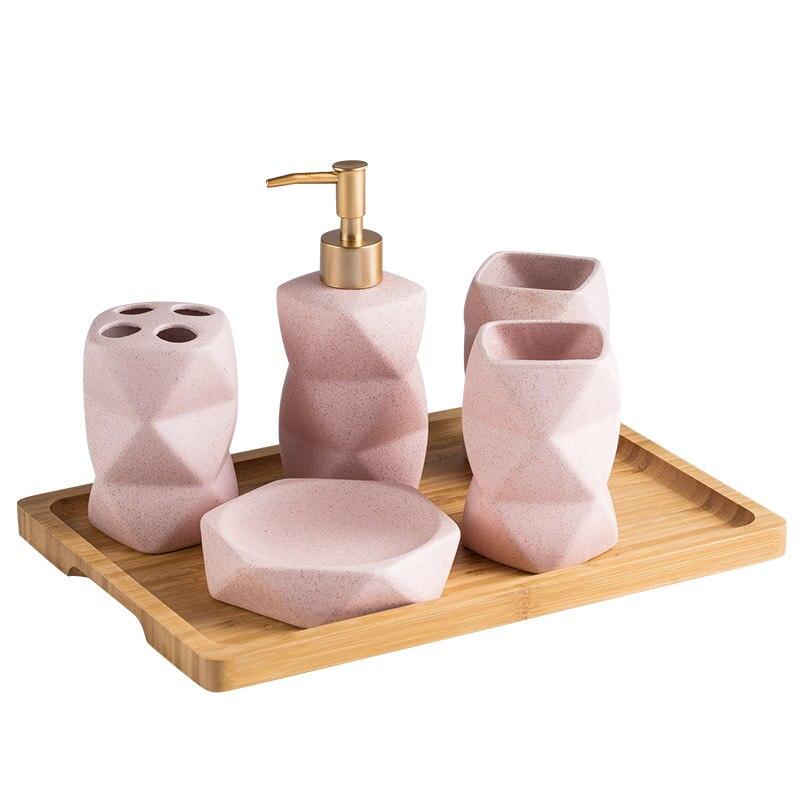 Ceramics Bathroom Accessories Set Soap, Pink Bathroom Accessories