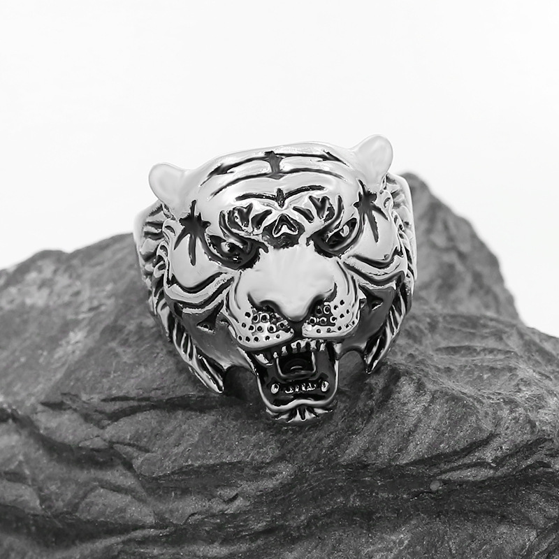 Size 7-13 Tiger King Ring 316L Stainless Steel Jewelry Men Boys Animal Tiger Ring Male Fashion Rings Wholesale