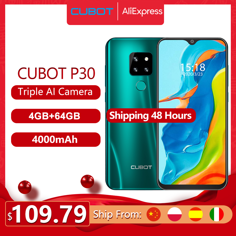 """Cubot P30 Smartphone 6.3"""" Waterdrop Screen 2340x1080p 4GB+64GB Android 9.0 Pie Helio P23 AI Rear Triple Cameras Face ID 4000mAh(China)"""