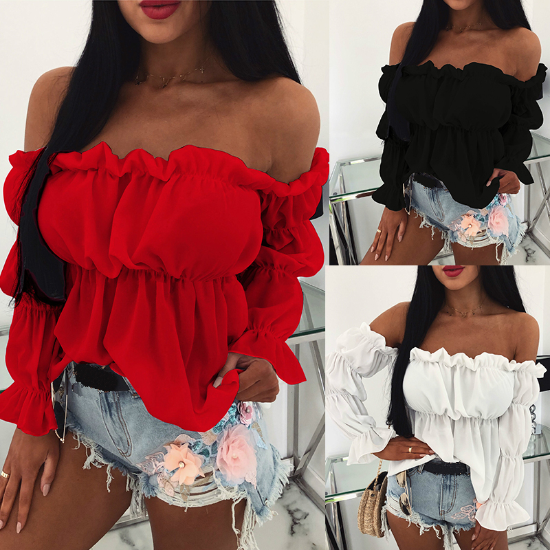 Womens Tops and Blouses Sexy Solid Color Off Shoulder Ruff Sleeve Long Sleeve Ruffled Women Blouse Women Shirts(China)
