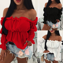 Womens Tops and Blouses Sexy Solid Color Off Shoulder Ruff Sleeve Long Sleeve Ruffled Women Blouse Women Shirts