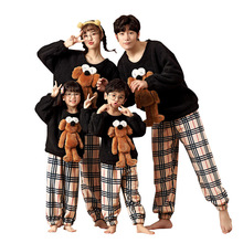 Japanese parent-child pajamas autumn and winter style reinforced coral fleece home wear for boys and girls
