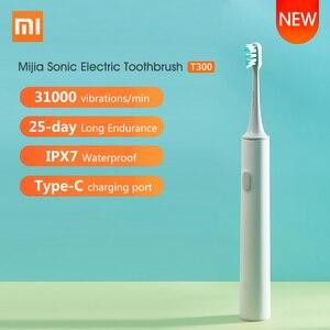 Image 1 - Xiaomi Mijia sonic חשמלי מברשת שיניים T300 USB שן מברשת Ultra sonic עמיד למים שן מברשת מסטיק בריאות שיניים להלבין עמוק נקי