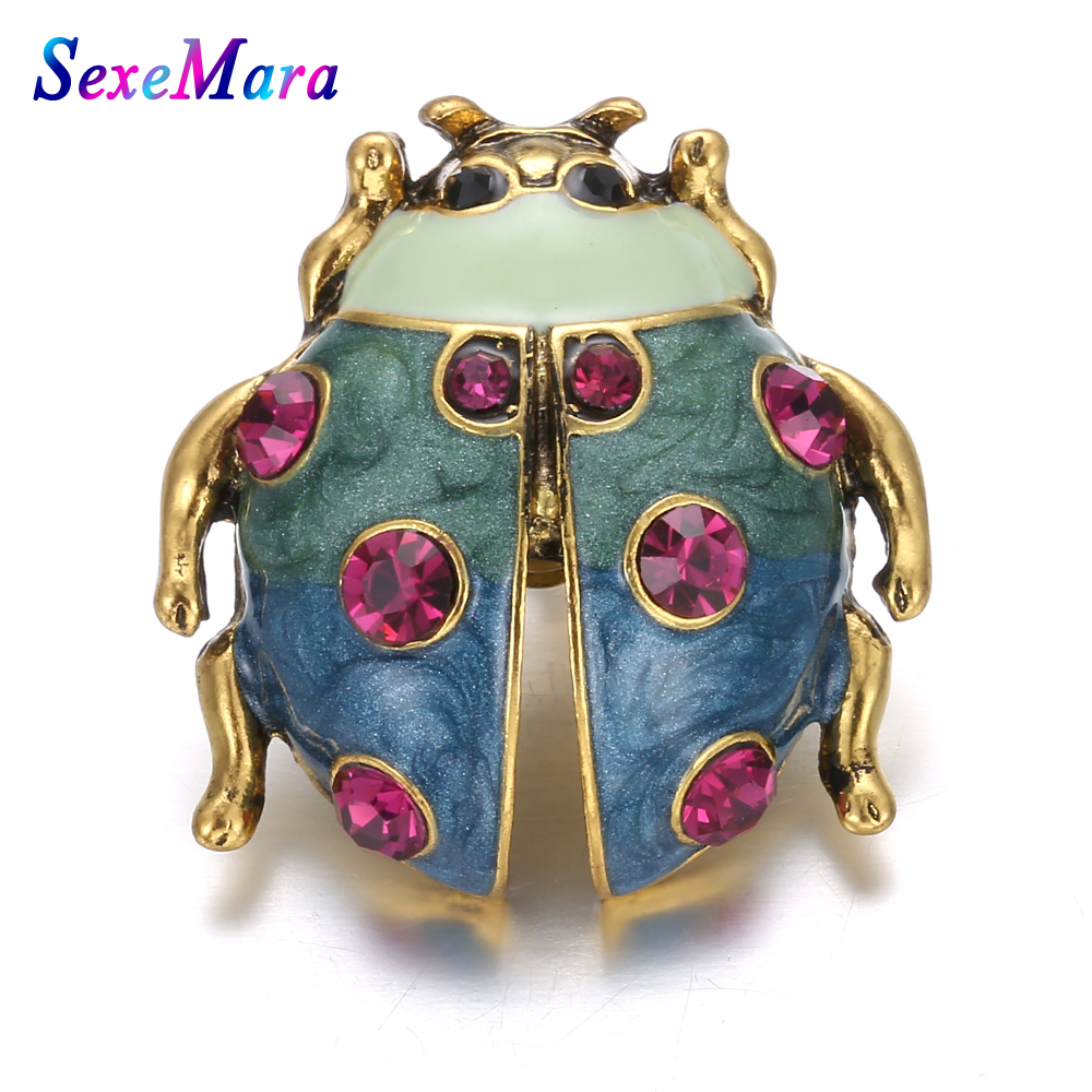 New Vintage Snaps Button Jewelry Beetle Rhinestone Button Fit 18mm Snap Button Jewelry Snap Bracelets Bangles for Women image