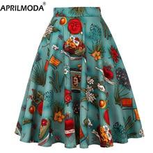 Womens Pleated Black Skirt Swing Midi Runway Vintage Sundress Pinup 50s 60s Cotton High Waist School Daily Rockabilly Skater