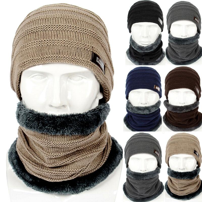 Unisex Winter Warm Knitting Beanie Hat Scarf Set Thicken Neck Warmer Ski Cap