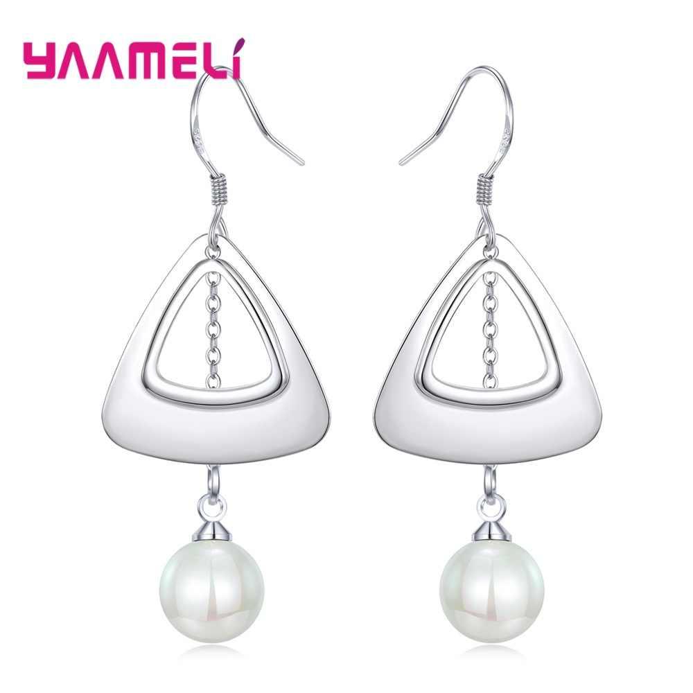 Top Brand 925 Sterling Silver Jewelry for Women Girls Simple Metal Butterfly Geometric Shaped Pendant Earrings Pendientes