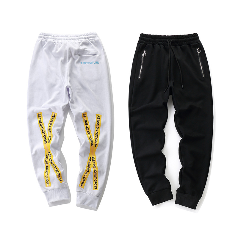 2018 New Style Europe And America Popular Brand Off Ow White Series Cordon Yellow Adhesive Tape Casual Pants Sweatpants