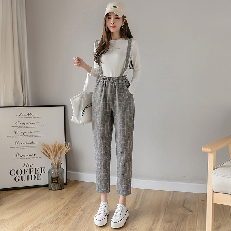 2020 Spring Summer Women Overalls Harem Pants Vintage Plaid Casual Loose Pants Fashion Female Straight Pants Trousers