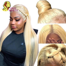 Facebeauty блондинка Синтетические волосы на кружеве человеческие волосы парики предварительно вырезанные 613 закрытие парик перуанские Remy (Рем...
