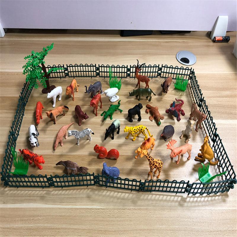 53 шт./компл. мини животный мир зоопарк модель фигурка игрушка набор мультфильм моделирование животное прекрасный пластик Коллекция игрушек...