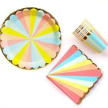 Rainbow Striped Candy Color Golden Edge Disposable Paper Tableware Party Supplies Cutlery Set