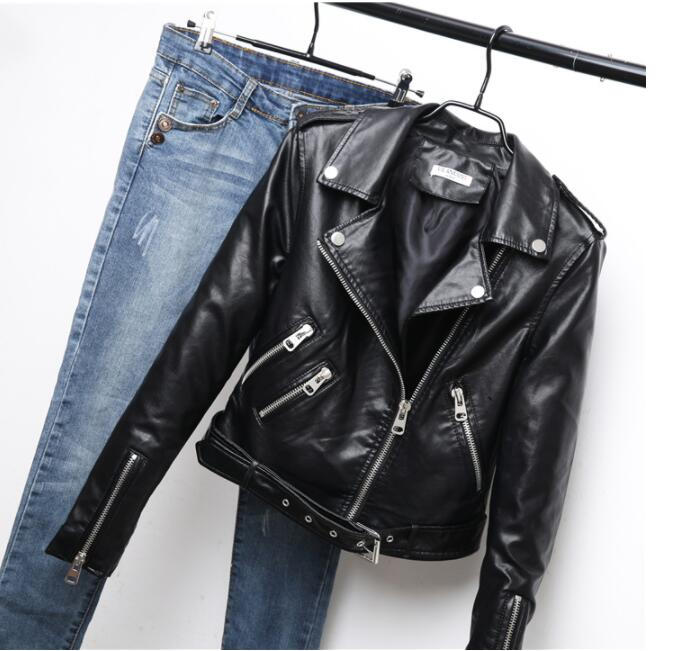 Belt, autumn women's   leather   jacket, 4 colors, asymmetric bicycle zipper, women's faux   leather   jacket, high quality jacket