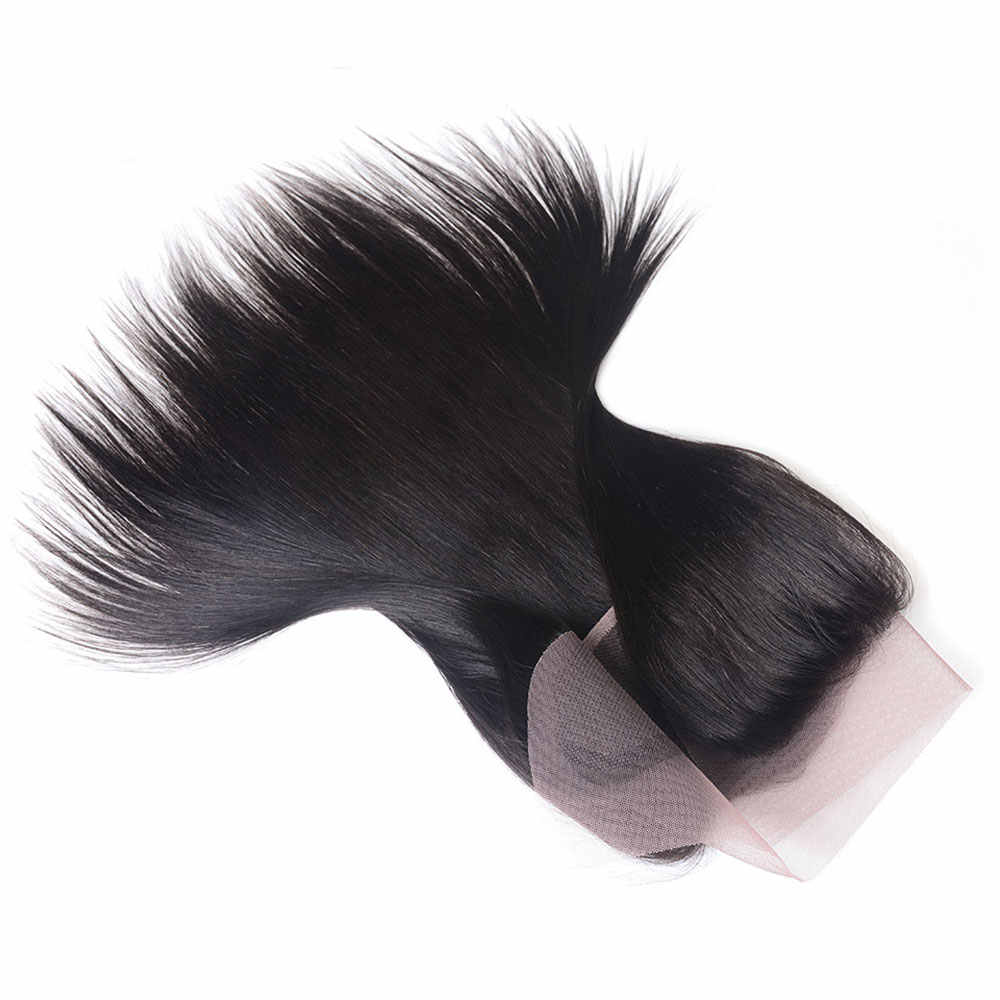 Brasileño Pre desplumado recto 13x4 pulgadas cierre Frontal Remy cabello humano Invisible de oreja a oreja cierre Frontal de encaje transparente
