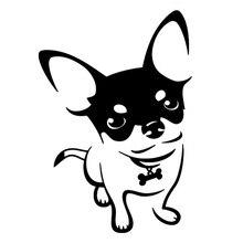 Автомобильные наклейки милый чихуахуа собака автомобиль мотоцикл декоративные аксессуары наклейки подходит для различных моделей черный/белый, 14см*10см