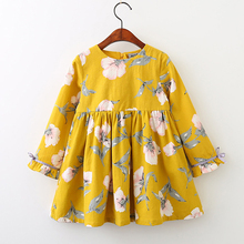 Summer Baby Kids Dresses Children Girls Long Sleeve Floral Princess Dress Spring Clothes for Girl