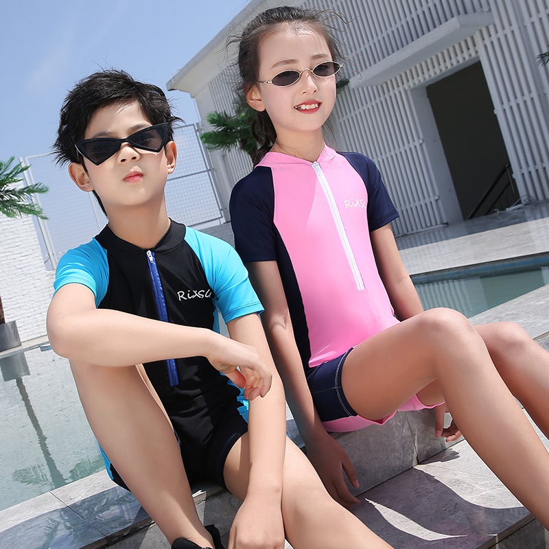 Children One-piece Dive Skin Big Boy Men And Women Children Korean-style Sun-resistant Beachwear Male Baby Short Sleeve Swimwear