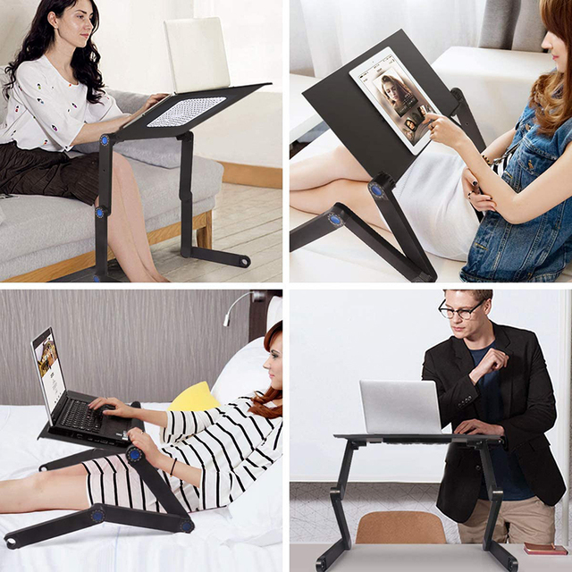 Adjustable Computer Table Aluminum Alloy Laptop Desk 360 Degree Laptop Stand Foldable Computer Table Stand Tray Notebook Stand 5