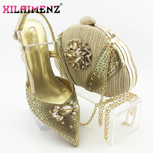 Image 1 - 2020 New Design Pointed Toe Sandals Italian Women Shoes and Bag to Match in Golden Color High Quality Nigerian Lady Party Shoes