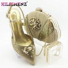 2020 تصميم جديد أشار تو الصنادل أحذية النساء الإيطالية وحقيبة لمباراة في اللون الذهبي عالية الجودة النيجيري سيدة أحذية الحفلات