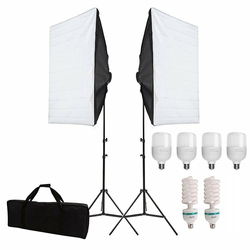 Photography Studio Softbox Lighting Kit E27 Socket 135W/25W Bulb 2m Light Stand Professional Continuous Light System Equipment