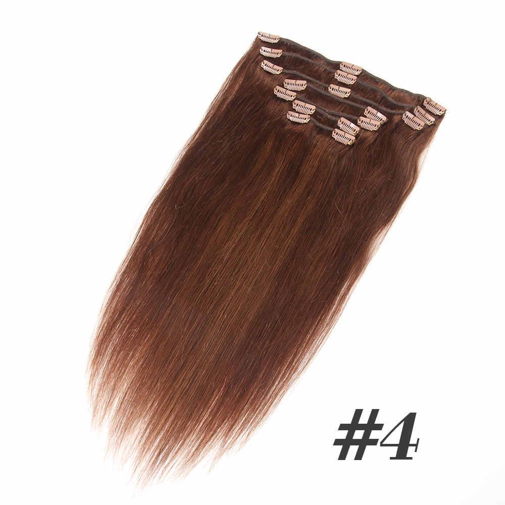 Brazilian Straight Hair Clip In Human Hair Extensions 7 Pieces/Set 120G Remy Hair Clip In Hair Extensions Full Head