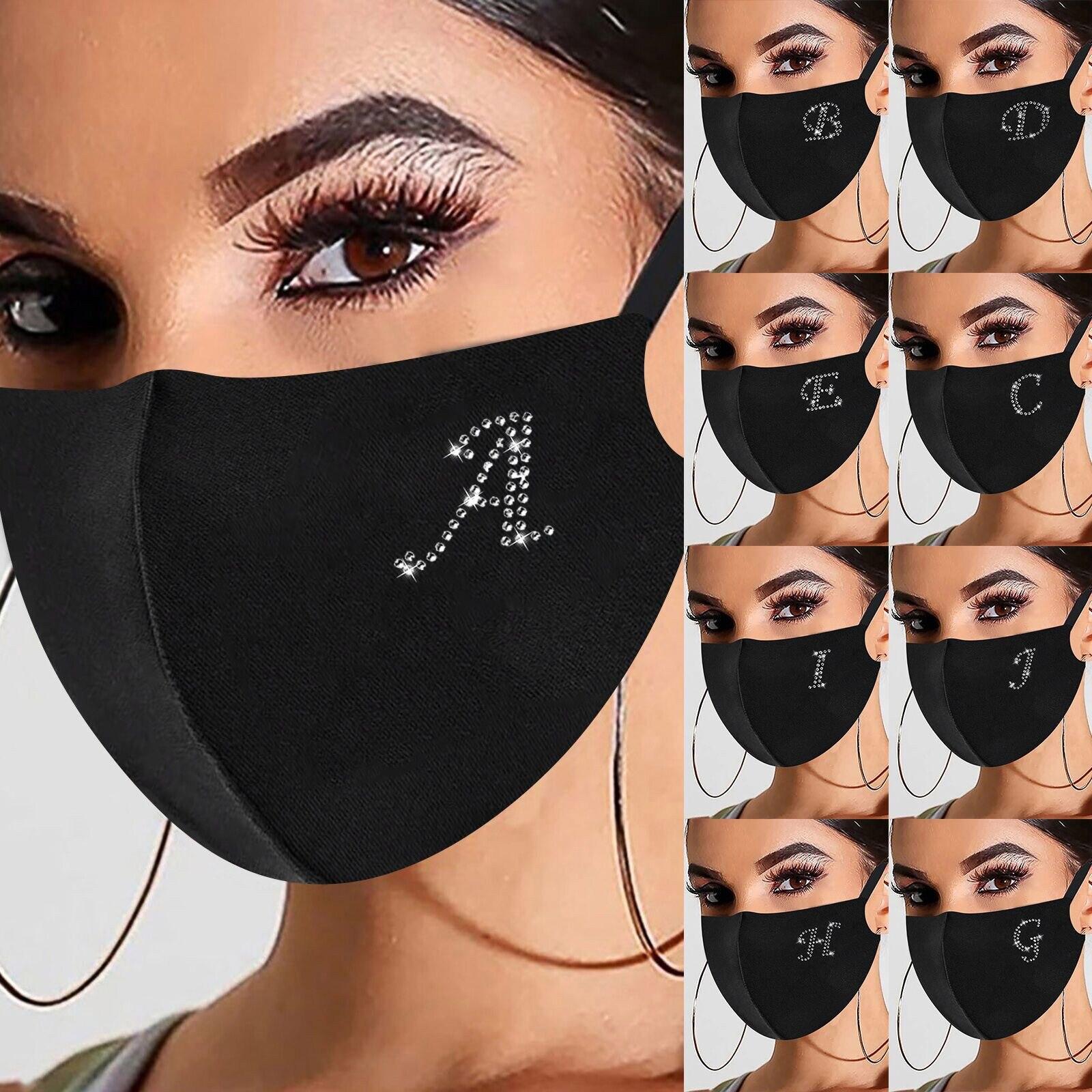 Mulher reutilizável furadeira ao ar livre respirável gelo à prova de vento máscara carta e-lement strass padrão máscara de algodão mascarilla