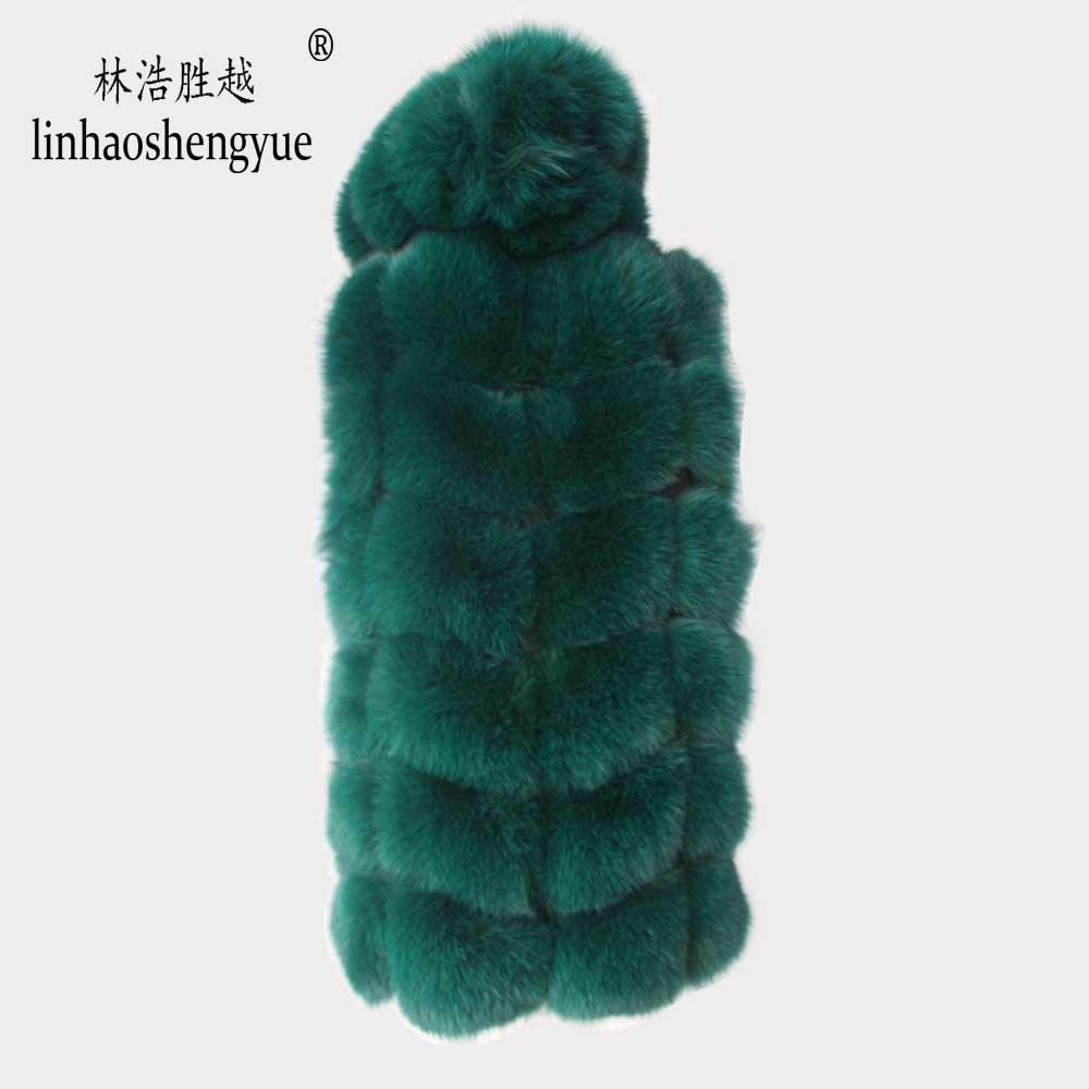 Image 5 - Linhaoshengyue 2017 70cm real casaco de pele de raposa colete feminino inverno quente moda colete frete grátis    -