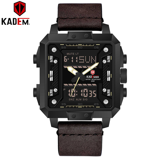 New Luxury Square Watch Men Sports Waterproof Military Wristwatches TOP Brand KADEMAN Dual Movement Casual Leather Watch Relogio