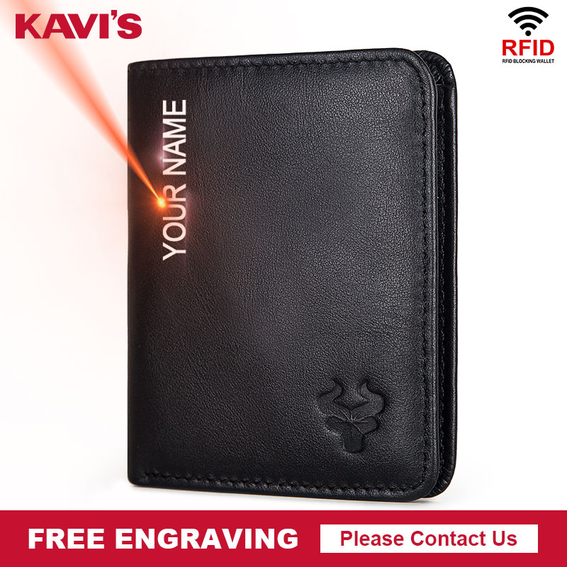KAVIS Engraving Name 100% Cow Genuine Leather Men Wallets With Coin Pocket Small Male Purse Mini Black With Card Holders Rfid